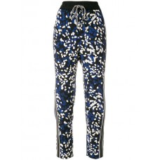 3.1 Phillip Lim Printed Drawstring Trousers BLK BLUE BF005 Silk 100% Women's Tapered Trousers 12774584 KEFLEHW