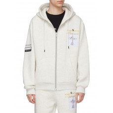 Alexander Wang 'Platinum' slogan embroidered trophy patch zip hoodie 211159360 - Men Clothing HXRULBC