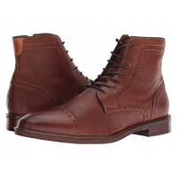 Johnston & Murphy Warner Cap Toe Zip Boot Dark Tan Full Grain Men's Lace Up Boots 9093987 USMMPTP