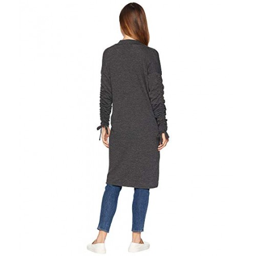 1.STATE Ruched Sleeve Cardigan w/ Ties Dark Heather Gray Women's Open Front 9125114 OMFAVIQ