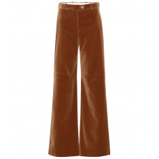 Acne Studios High rise flared velvet pants camel brown 100% cotton  P00340203 LZEBSQO