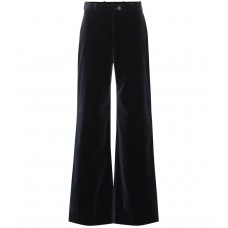 Acne Studios High rise flared velvet pants navy blue 100% cotton  P00340204 XIIAAKU