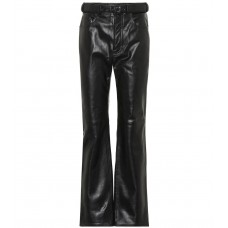 Acne Studios High rise straight leather pants black 100% lamb leather  P00340205 JHXIJRY